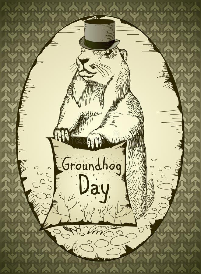 Jour de Groundhog illustration stock