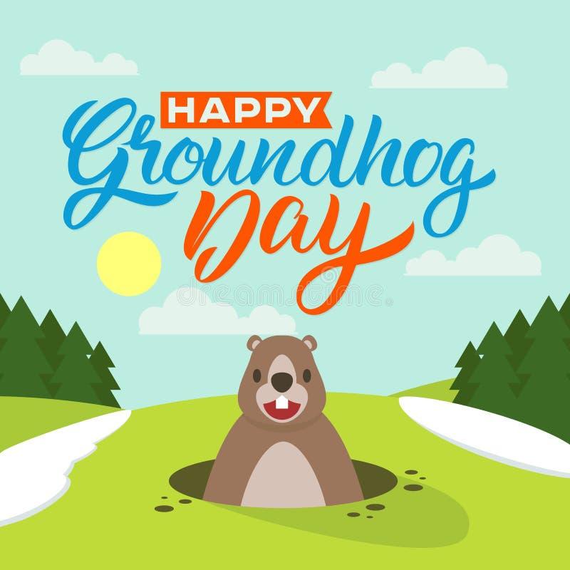 Jour de Groundhog heureux illustration de vecteur