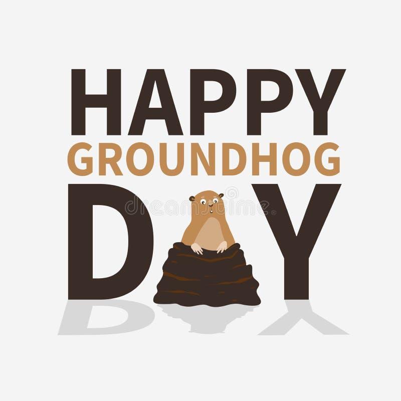 Jour de Groundhog heureux le logo, icône, Marmot effrayé mignon a émergé des terriers, se perfectionnent pour des cartes de voeux illustration stock