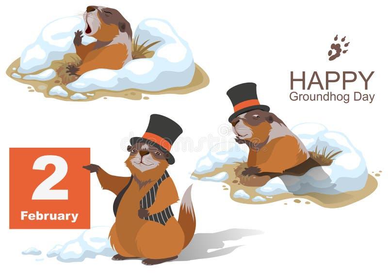 Jour de Groundhog heureux Marmot tenant le 2 février illustration de vecteur