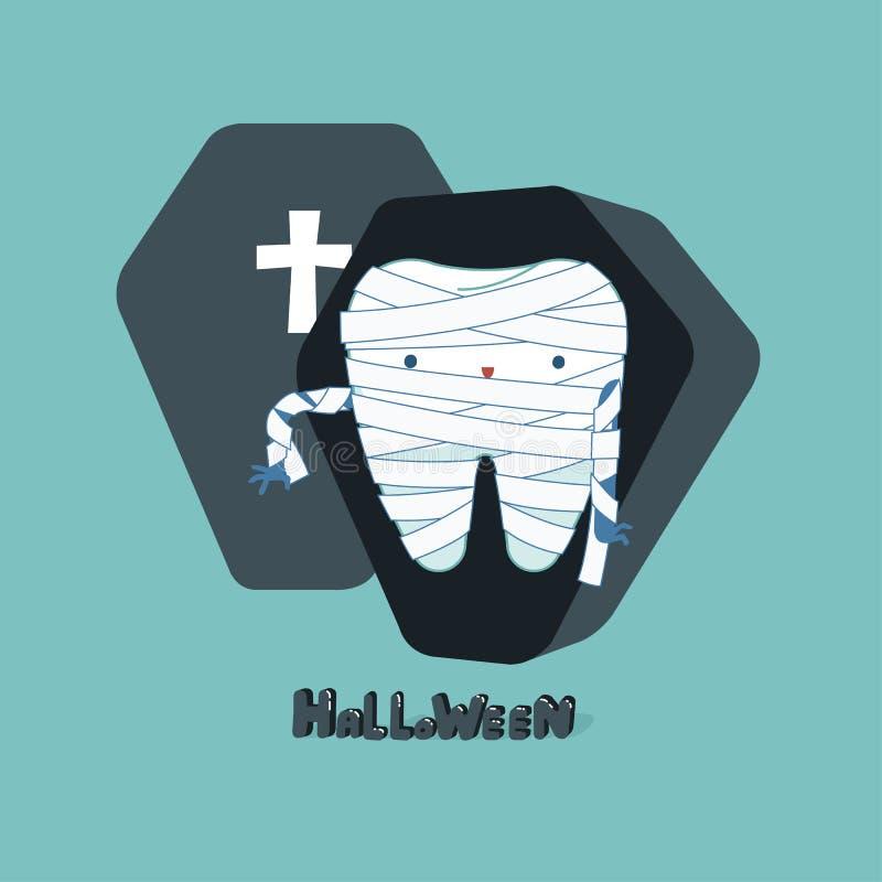 Jour de Halloween de dentaire, concept de fantacy de dent illustration libre de droits