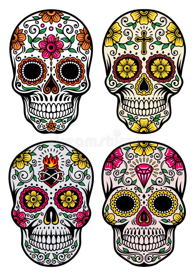Jour de l'ensemble mort de vecteur de crâne illustration de vecteur