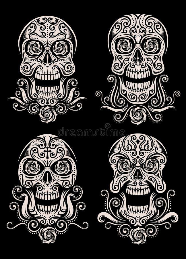 Jour de l'ensemble mort de vecteur de tatouage de crâne illustration libre de droits