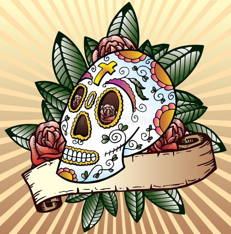 Jour de l'illustration morte de vecteur de crâne de festival illustration stock