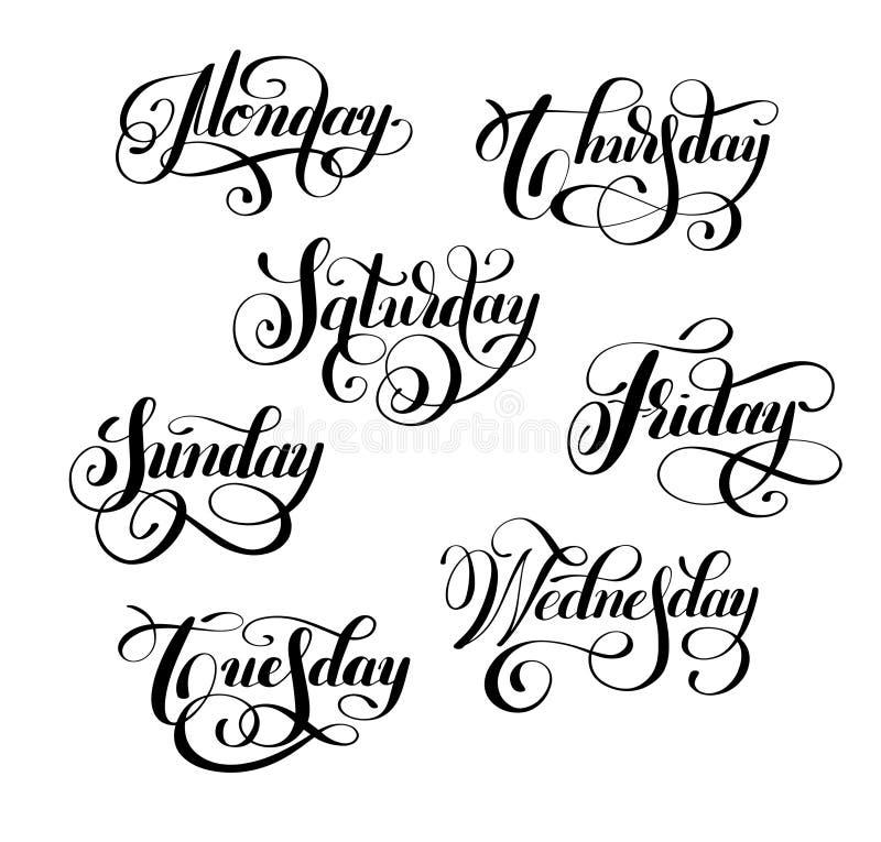 Jour de la calligraphie à l'encre noire manuscrite de semaine illustration stock