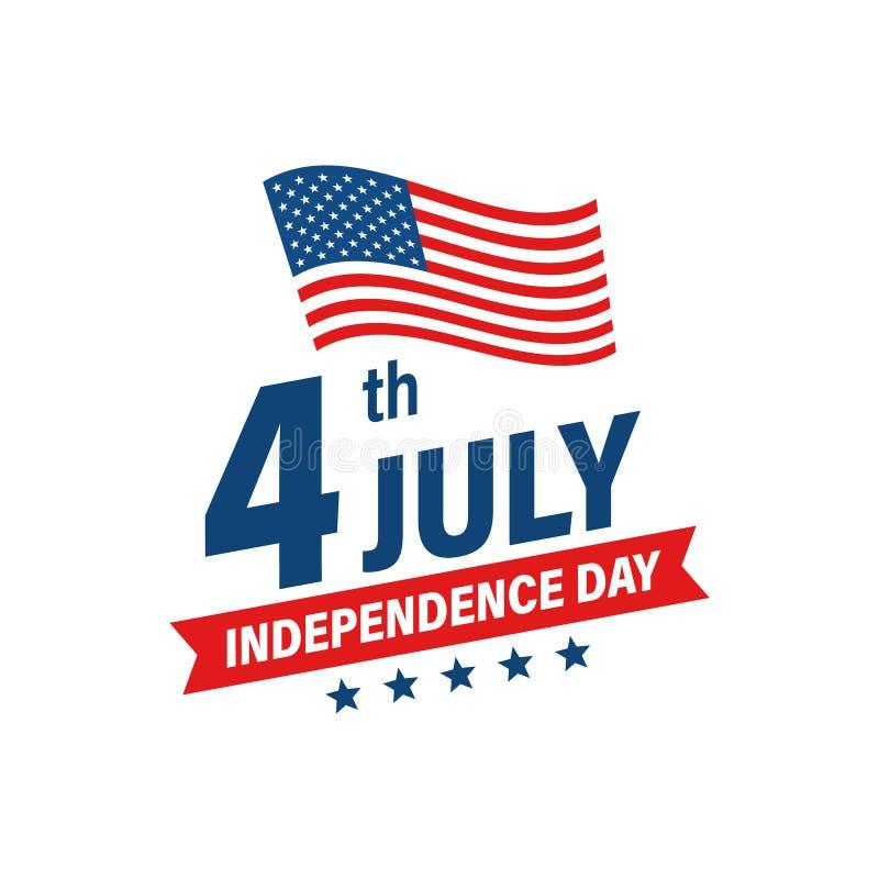 Jour de la Déclaration d'Indépendance 4ème des Etats-Unis des vacances de juillet Indicateur des Etats-Unis d'Am?rique Banni?re h illustration libre de droits