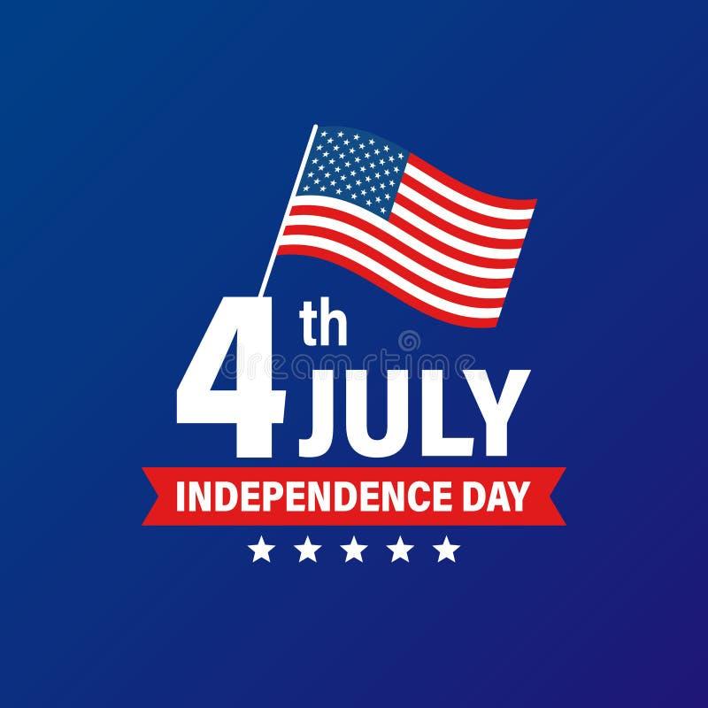Jour de la Déclaration d'Indépendance 4ème des Etats-Unis des vacances de juillet Indicateur des Etats-Unis d'Am?rique Banni?re h illustration stock