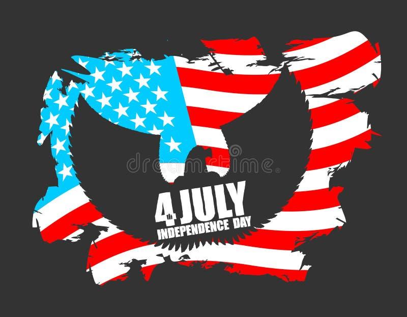 Jour de la Déclaration d'Indépendance Amérique Symbole d'aigle de pays avec des ailes illustration stock