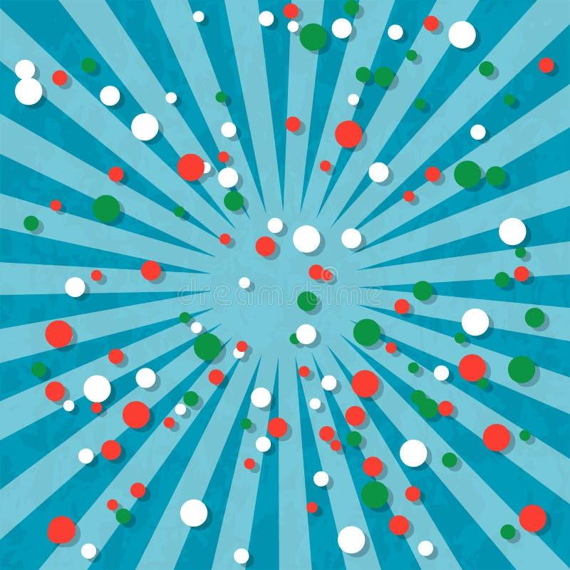 Jour de la Déclaration d'Indépendance au Madagascar 26 juin Rayons du centre Fond bleu, texture grunge Cercles de couleurs de dra illustration libre de droits