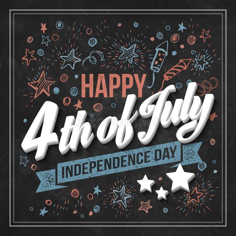 Jour de la Déclaration d'Indépendance de carte de typographie Panneau de craie illustration libre de droits