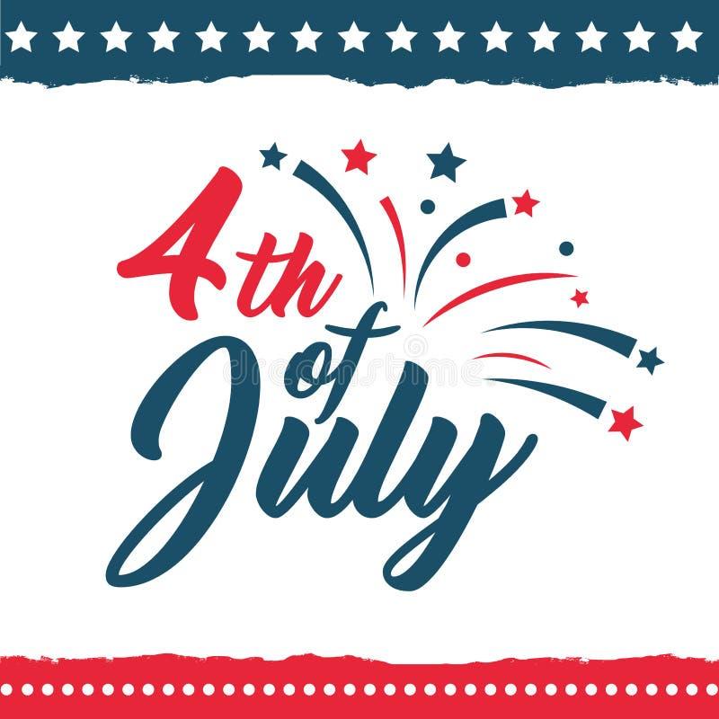 Jour de la Déclaration d'Indépendance de l'ensemble d'affiche des Etats-Unis illustration de vecteur
