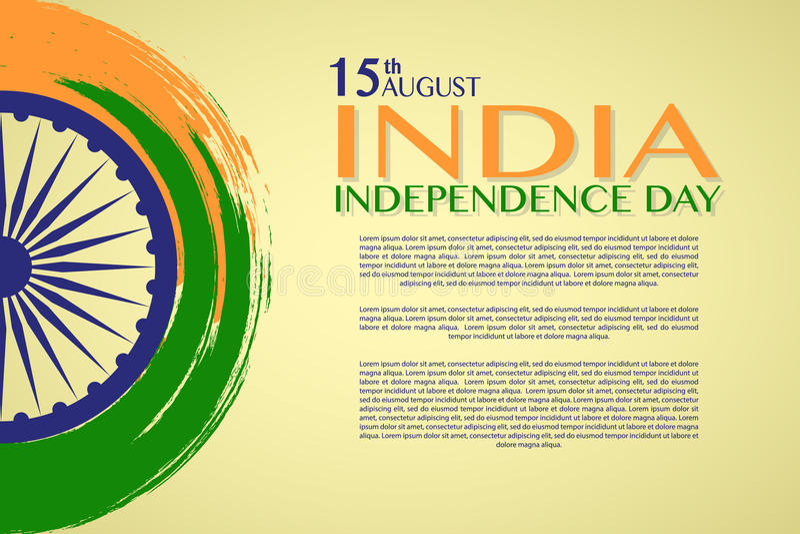 Jour de la Déclaration d'Indépendance de l'Inde le 15ème août illustration stock