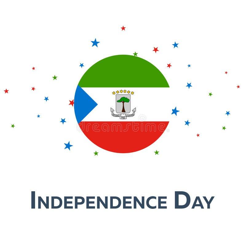 Jour de la Déclaration d'Indépendance de la Guinée équatoriale Drapeau patriotique Illustration de vecteur illustration de vecteur