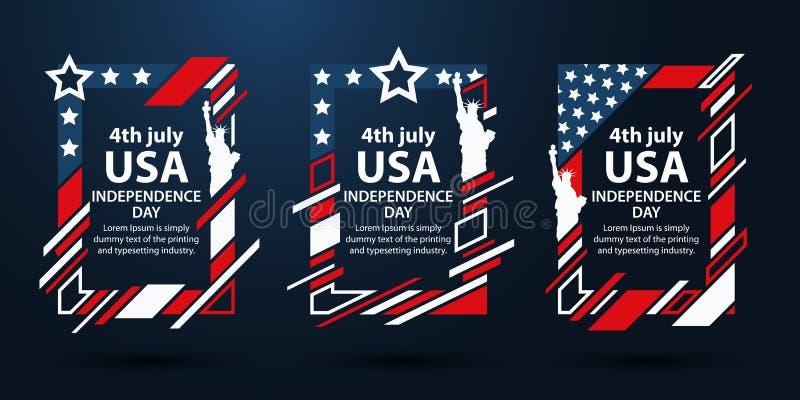 Jour de la Déclaration d'Indépendance des Etats-Unis Graphiques d'art moderne Cadres verticaux dynamiques, fond élégant 4ème de l illustration stock