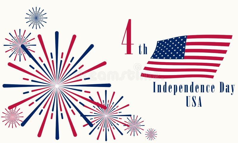 Jour de la Déclaration d'Indépendance des Etats-Unis le 4 juillet 2019 illustration de vecteur