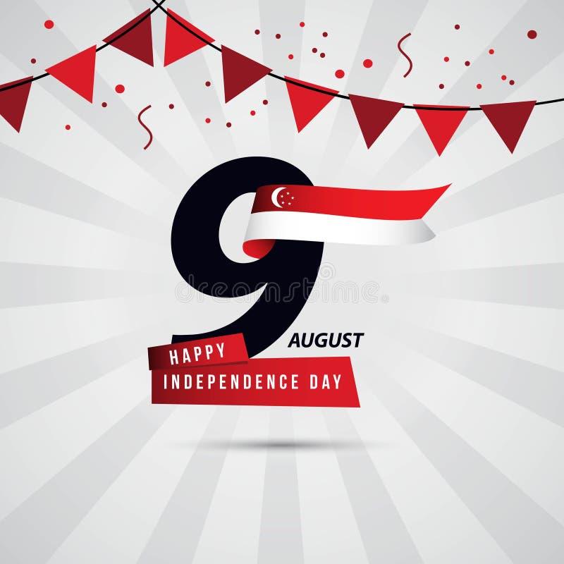 Jour de la Déclaration d'Indépendance heureux 9 August Vector Template Design de Singapour illustration libre de droits