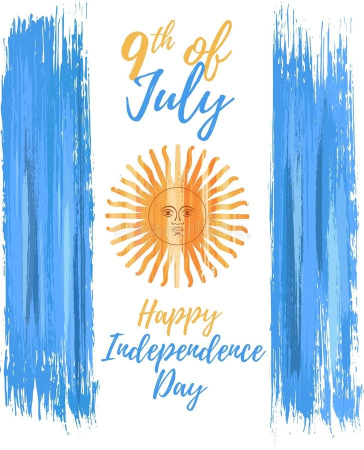 Jour de la Déclaration d'Indépendance heureux de l'Argentine le 9ème juillet illustration stock