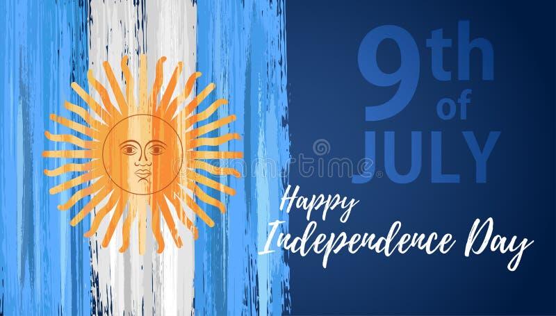 Jour de la Déclaration d'Indépendance heureux de l'Argentine le 9ème juillet illustration libre de droits