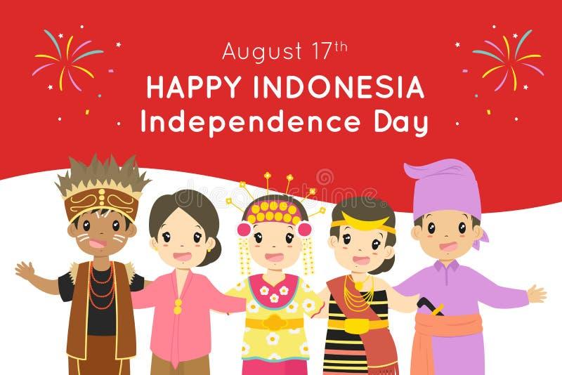 Jour de la Déclaration d'Indépendance heureux de l'Indonésie, le 17 août conception de vecteur illustration stock