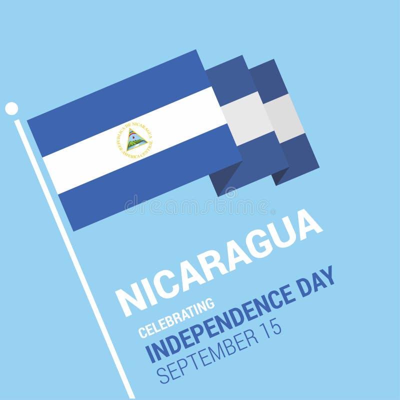 Jour de la Déclaration d'Indépendance heureux de ondulation de drapeau de 3d Nicaragua illustration stock