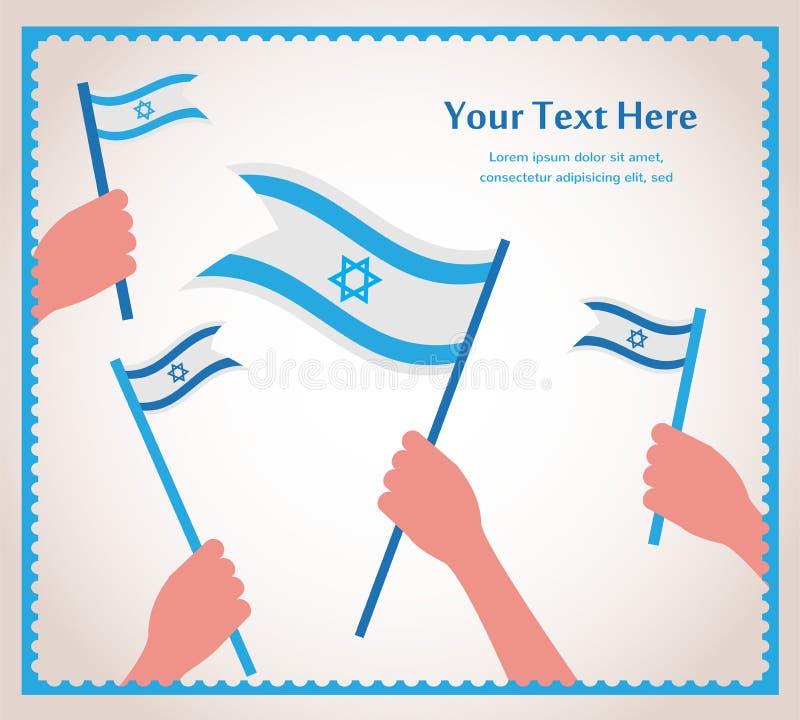 Jour de la Déclaration d'Indépendance israélien heureux. main tenant un drapeau. illustration libre de droits