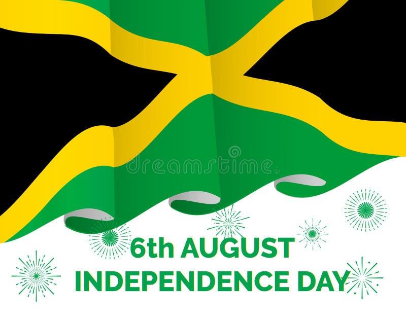 Jour de la Déclaration d'Indépendance de la Jamaïque dans le 6 août Jour national de la Jamaïque Drapeau et éléments patriotiques illustration libre de droits
