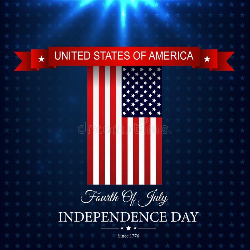 Jour de la Déclaration d'Indépendance 4 juillet heureux avec le ruban de rouge de drapeau américain illustration libre de droits