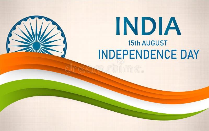 Jour de la Déclaration d'Indépendance de l'Inde 15ème du fond d'August Concept avec la roue d'Ashoka illustration libre de droits