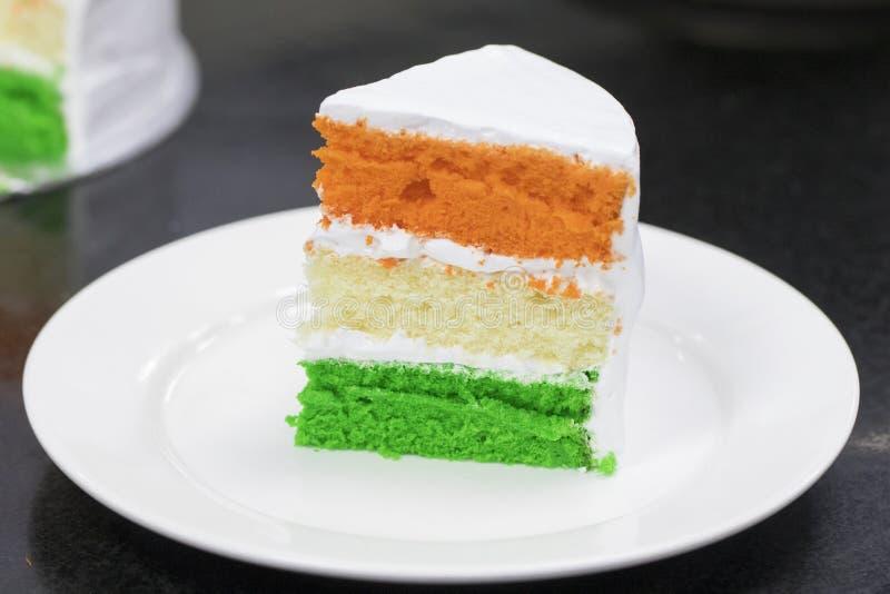 Jour de la Déclaration d'Indépendance posé tri par couleur de gâteau mousseline spécial - 15ème August India photos stock