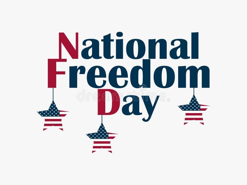 Jour de la liberté nationale, le 1er février Étoiles accrochantes avec le drapeau des USA Drapeau de célébration Abolition d'escl illustration stock