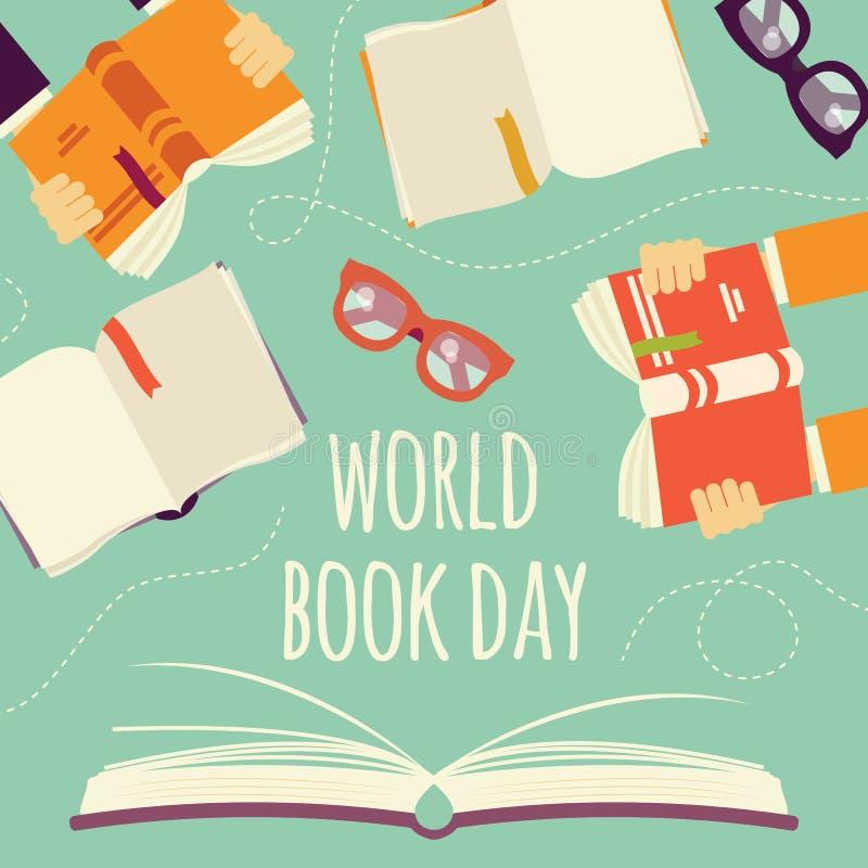 Jour de livre du monde, livre ouvert avec des mains tenant des livres et des verres illustration de vecteur