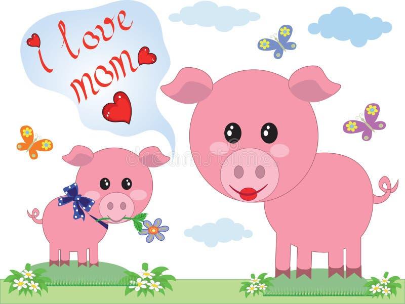 Jour de mères, deux porcs illustration de vecteur
