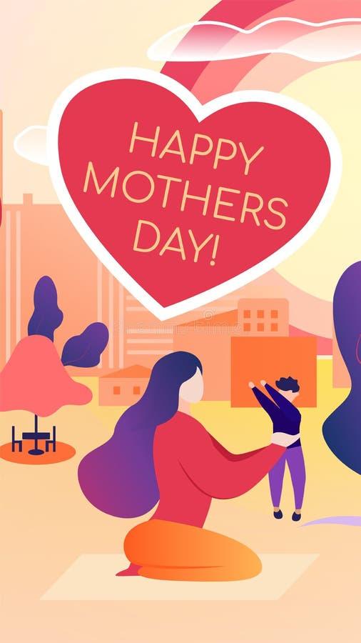 Jour de mères heureux écrit par illustration plate de vecteur illustration libre de droits