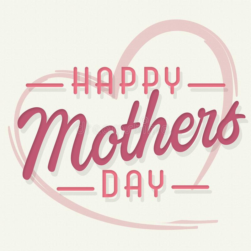 Jour de mères heureux Art Card avec le rose de coeur illustration libre de droits