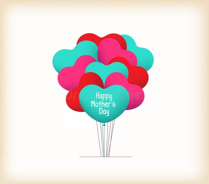 Jour de mères heureux avec des ballons de coeur illustration de vecteur
