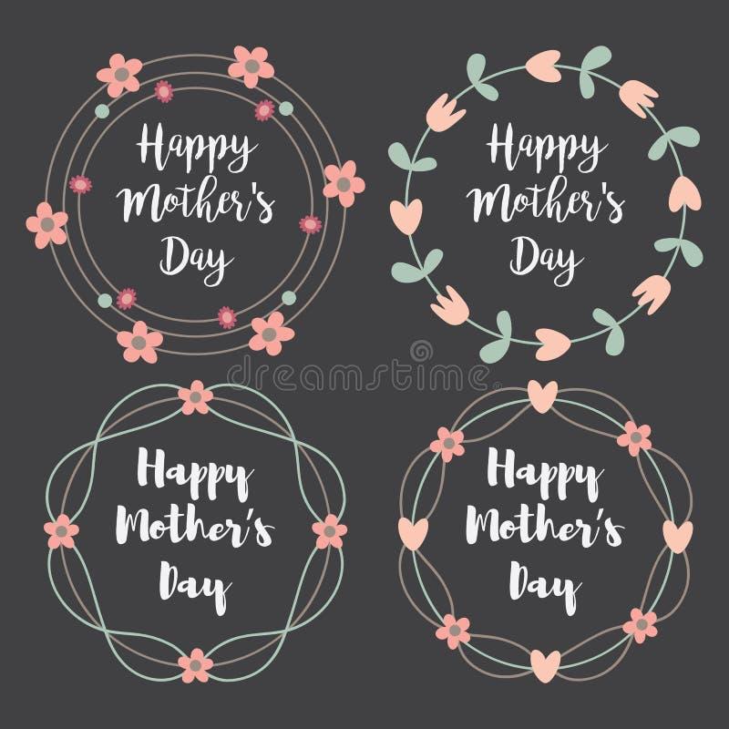 Jour de mères heureux avec l'ensemble de carte de voeux de fleurs Guirlande de laurier, guirlande florale Illustration de vecteur illustration de vecteur