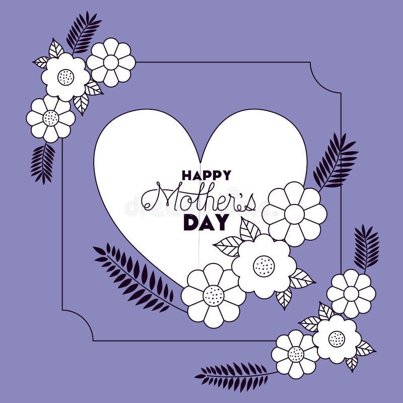 Jour de mères heureux avec la carte florale de décoration et de coeur illustration de vecteur
