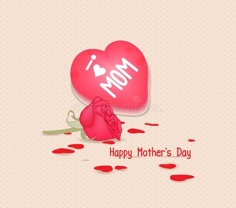 Jour de mères heureux avec le coeur et les fleurs illustration libre de droits