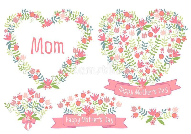Jour de mères heureux, coeurs floraux, ensemble de vecteur illustration stock