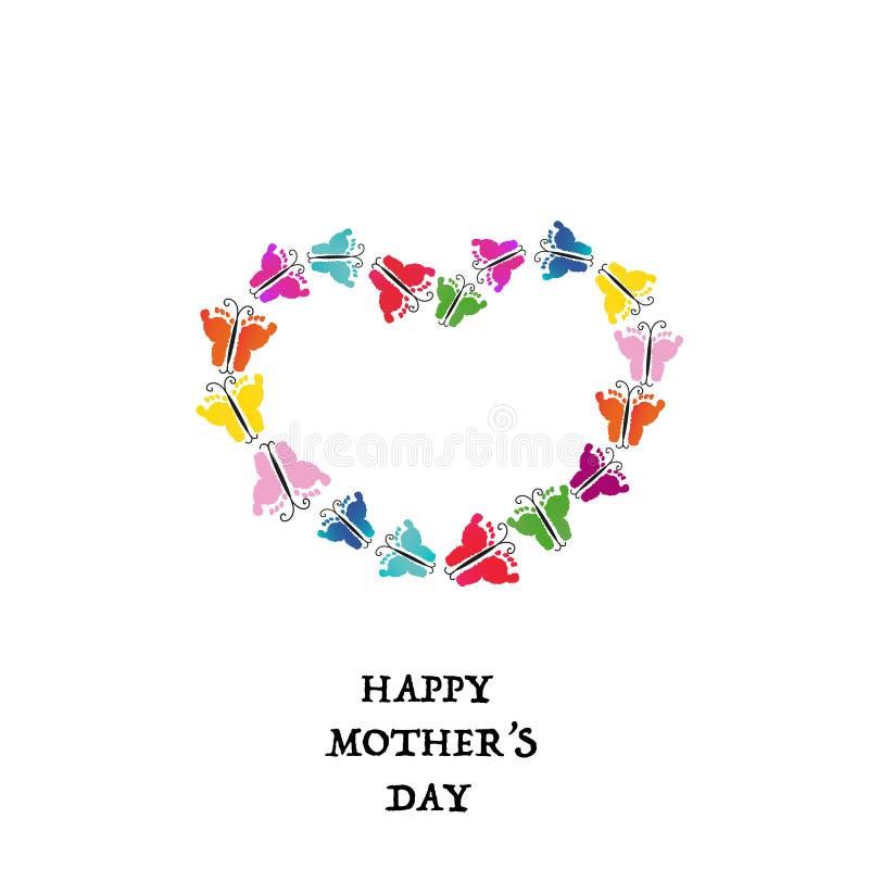 Jour de mères heureux Fait de la main colorée de bébé imprime le papillon Forme de coeur avec la carte de voeux de cadre de papil illustration libre de droits