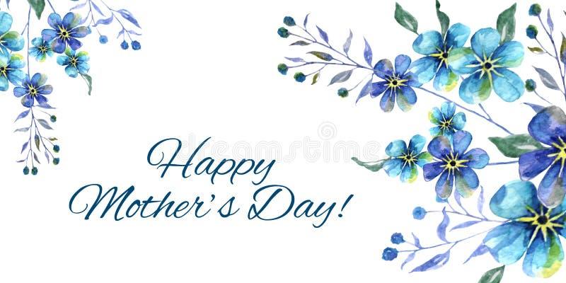 Jour de mères heureux, illustration horizontale d'aquarelle avec des fleurs de myosotis des marais et texte sur un fond blanc illustration libre de droits