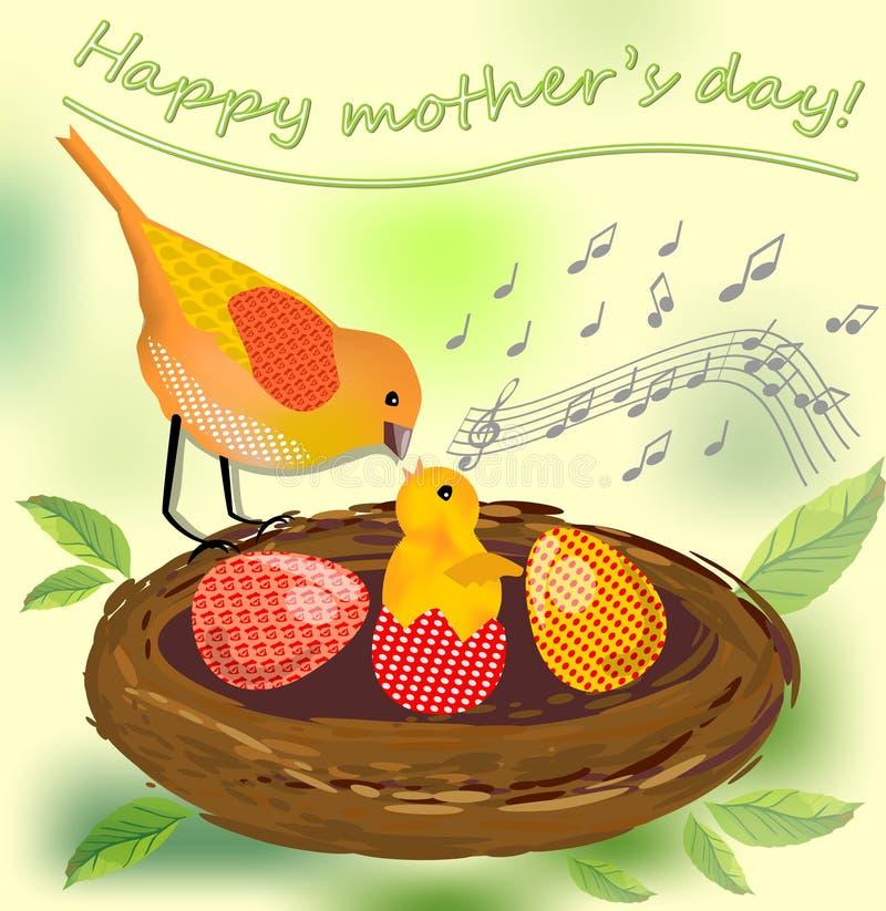 Jour de mères mignon d'image, image de vecteur avec la mère d'oiseau et son bébé d'oiseau et oeufs colorés dans le nid illustration de vecteur