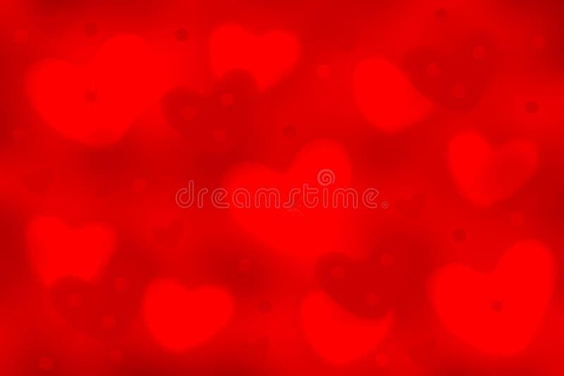 Jour de m?res heureux Texture rouge de fête de fond de résumé avec des coeurs et des cercles de bokeh pour Valentine, des mères e illustration libre de droits