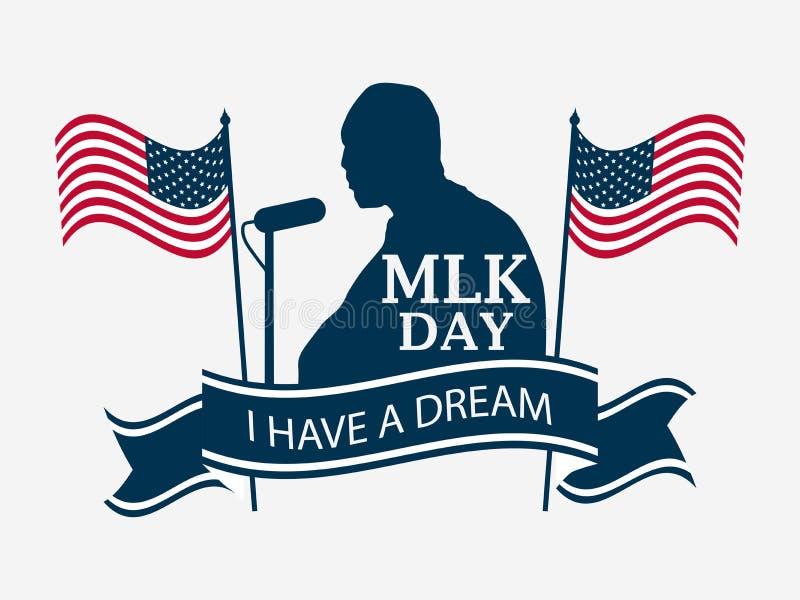 Jour de Martin Luther King Bannière de célébration avec le drapeau des Etats-Unis et de la silhouette humaine d'isolement sur le  illustration libre de droits