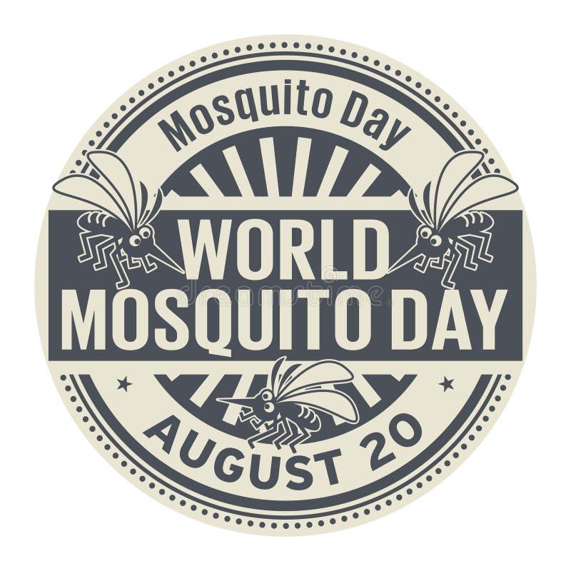 Jour de moustique du monde, tampon en caoutchouc abstrait illustration de vecteur