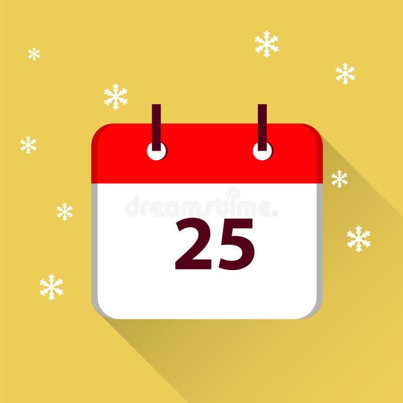 Jour de Noël 25 décembre illustration de vecteur