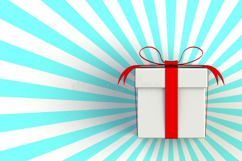 Jour de Noël et de nouvelle année, boîte-cadeau blanc rouge d'isolement sur le fond bleu rayé illustration libre de droits