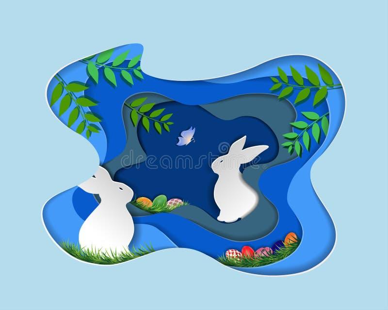 Jour de Pâques avec le lapin et l'oeuf coloré sur le fond bleu, l'art de papier et le style numérique de métier illustration libre de droits