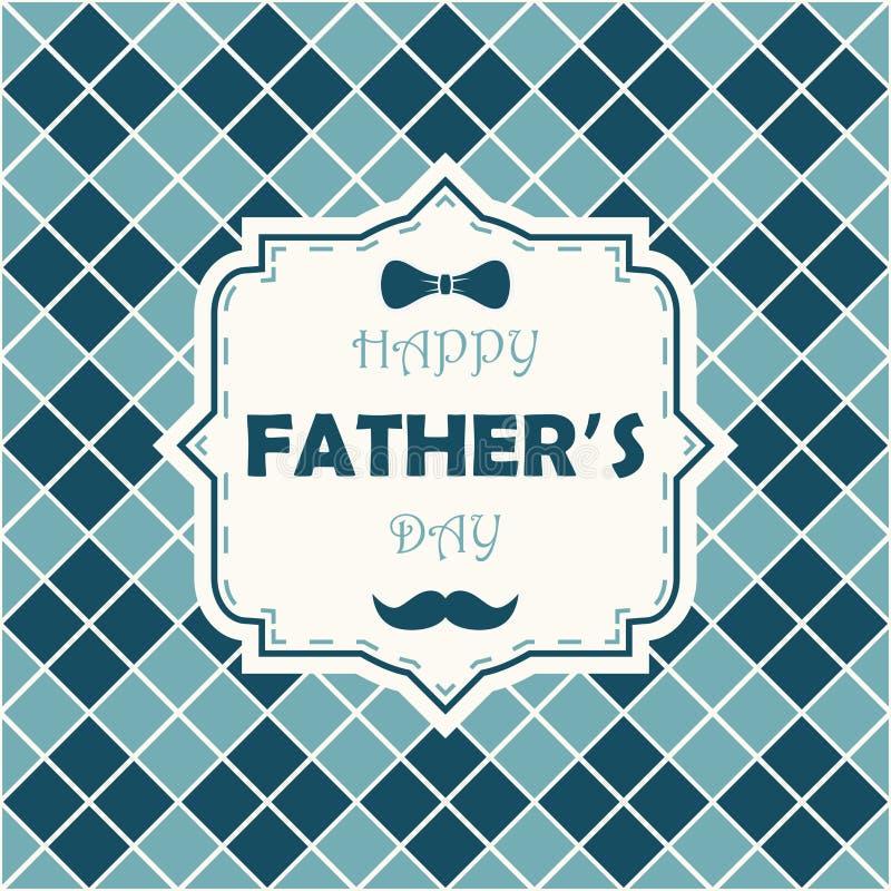 Jour de père heureux Carte sur le fond à motifs de losanges avec le noeud papillon, la moustache et le lettrage dans le cadre Vec illustration de vecteur