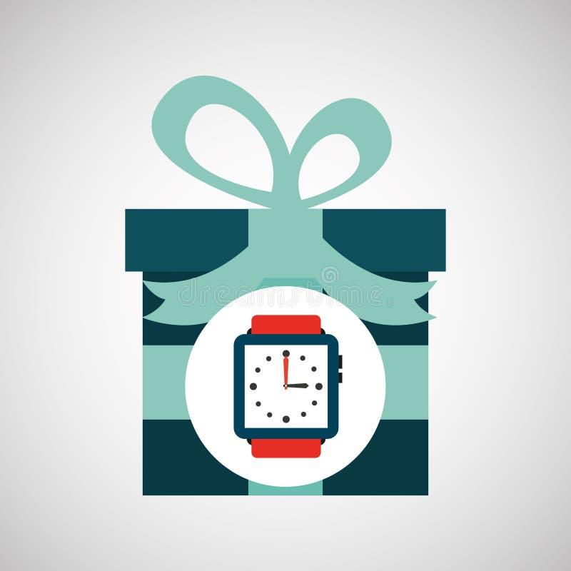 Jour de pères heureux avec la montre de cadeau illustration de vecteur